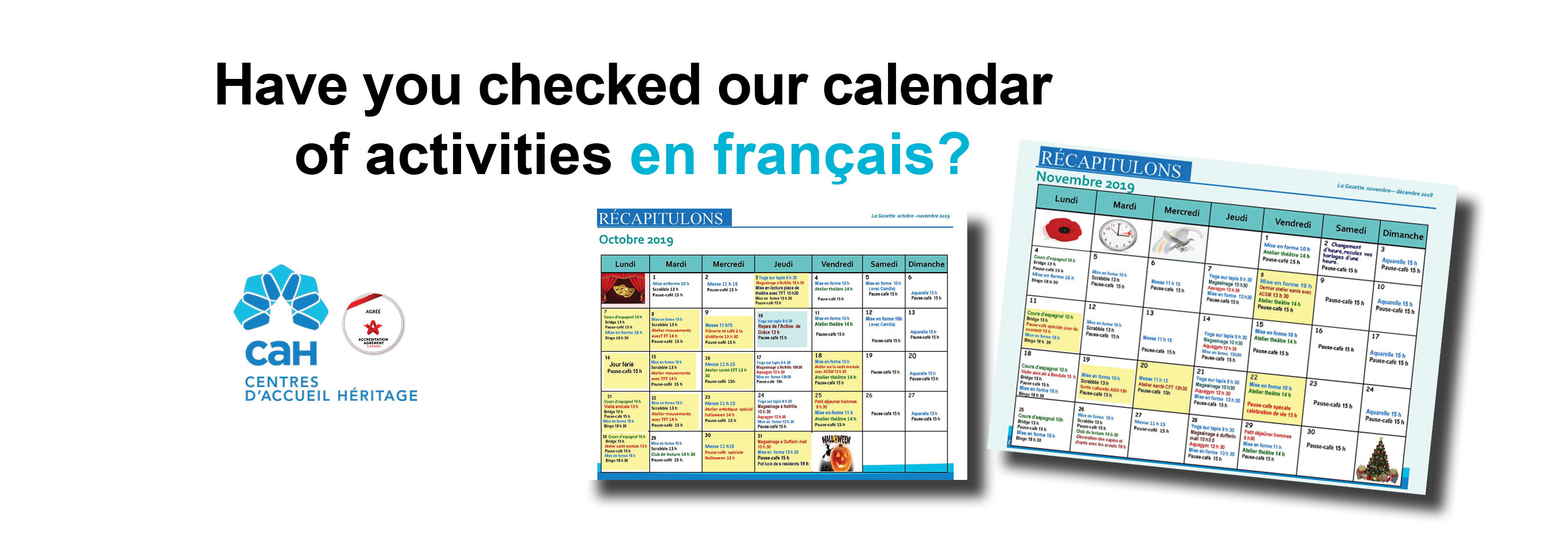 Check our calendar of activities… en français!